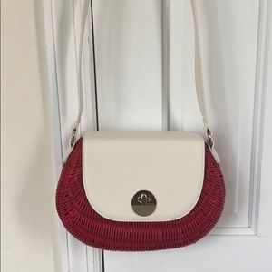 Talbots new whicker and leather cross body bag